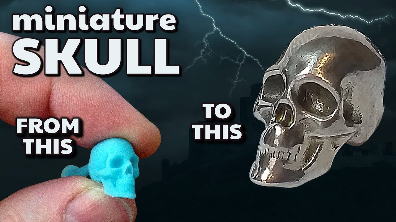 miniature skull 3D Elegoo Resin print to Lost Wax metal casting + silicone  mould technique- by VOG