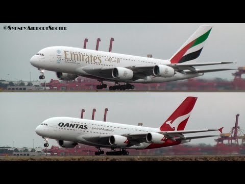 Qantas Airways and Emirates Airline Dual A380 take offs at *SYDNEY AIRPORT*