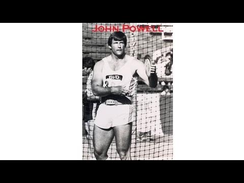 John Powell at 40 years of age throwing 66.22 meters – (PB 71.26 meters)