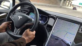 Tesla Model X on Winding Road on Autopilot