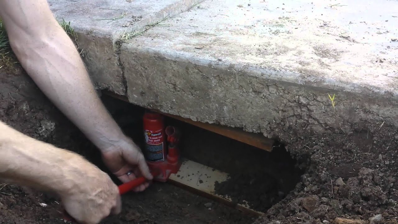 Lifting A Sunken Concrete Driveway Slab Diy Viyoutube