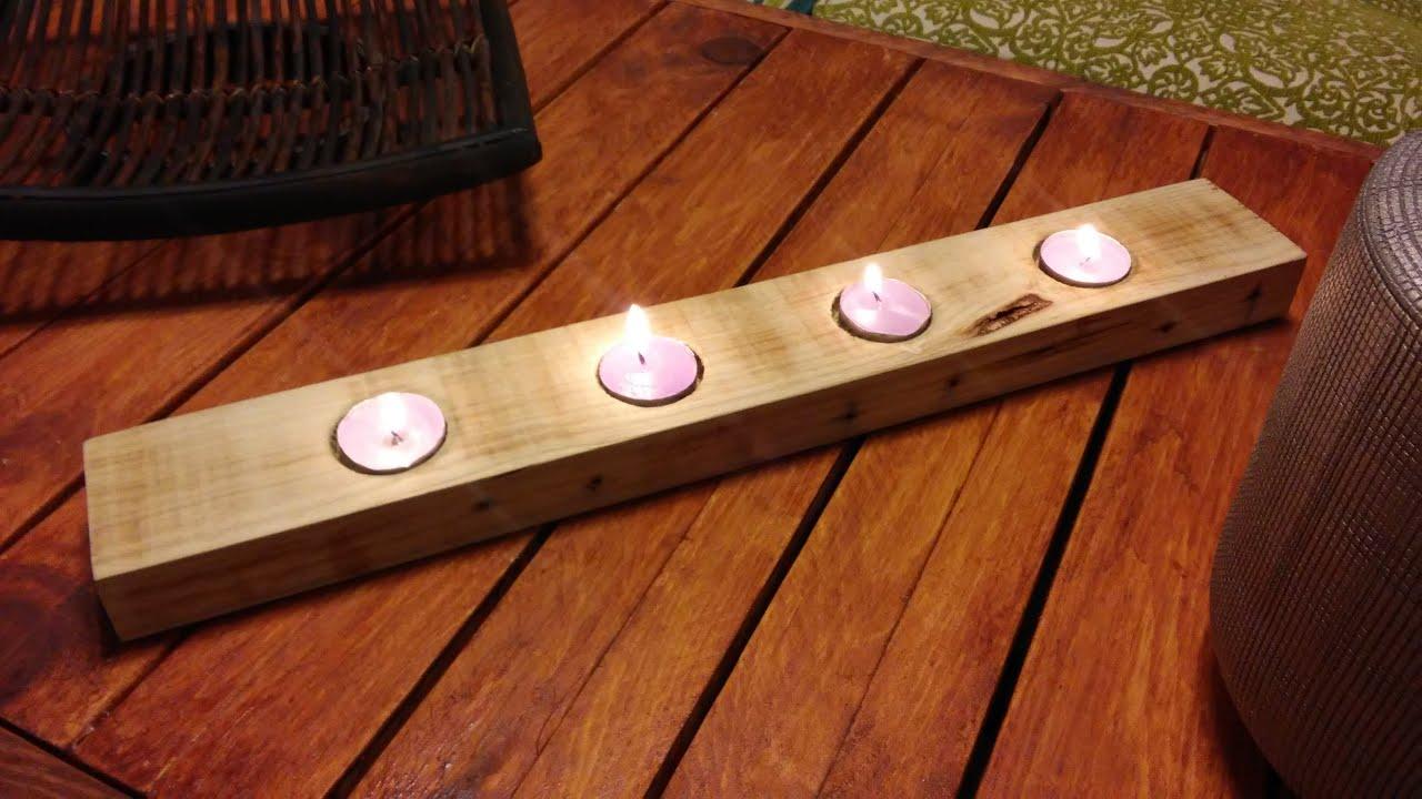 C mo hacer un portavelas con el list n de un palet re for Bar de madera usado