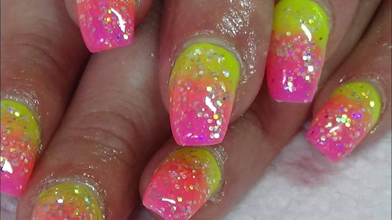 summer neon ombre with glitter acrylic nails - YouTube