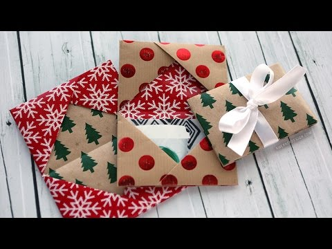 Holiday Card Series 2016 - Day 5 (DIY Gift Card Holder Made From Wrapping Paper)