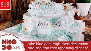 cake blue gem High-class decoration - bánh sinh nhật xanh ngọc trang trí tinh tế (519)