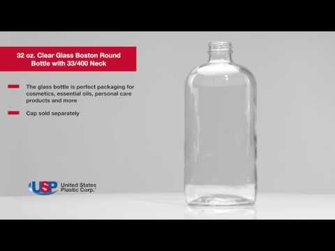 32 OZ. CLEAR GLASS BOSTON ROUND BOTTLE WITH 33/400 NECK | U.S. Plastic Corporation®