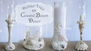 Coastal Beach Candlestick Decor / Dollar Tree DIY