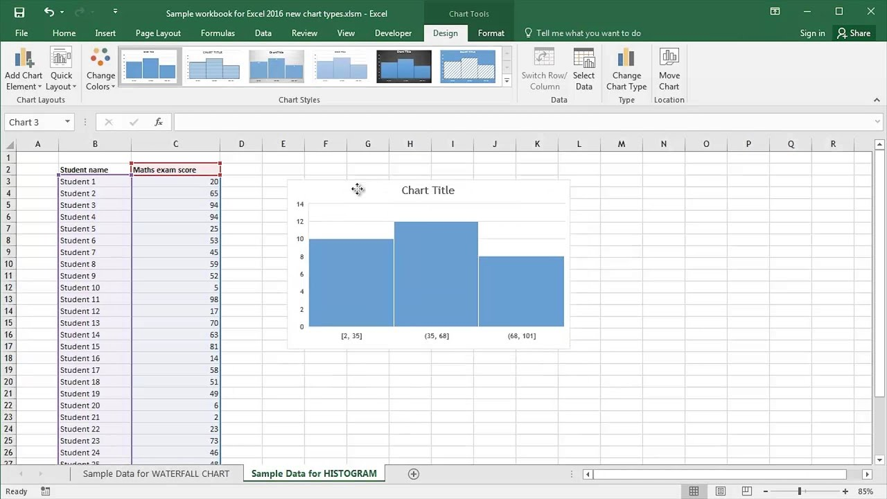 how to get chart tools in excel 2016