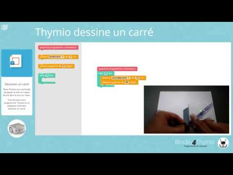Blockly4Thymio : Thymio dessine un carré