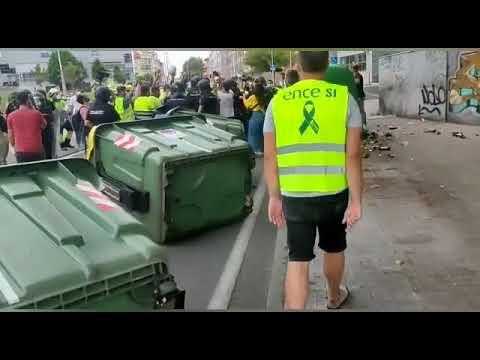 Tensión en la protesta de los trabajadores de Ence en Pontevedra