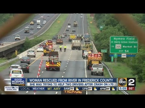 Woman rescued from river after crash on I-70 in Frederick County
