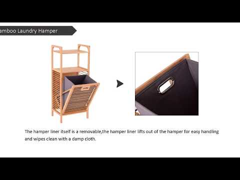 Costway Tilt-Out Bamboo Laundry Hamper Slat Frame Space Saving Storage with Shelf