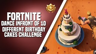 Fortnite Battle Royal - Dance In Front of Different Birthday Cakes Challenge [1 Year Anniversary]
