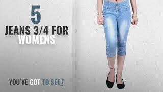 Top 10 Jeans 3/4 For Womens [2018]: Blinkin SlimFit High-Waist Distressed Capri Jeans for women