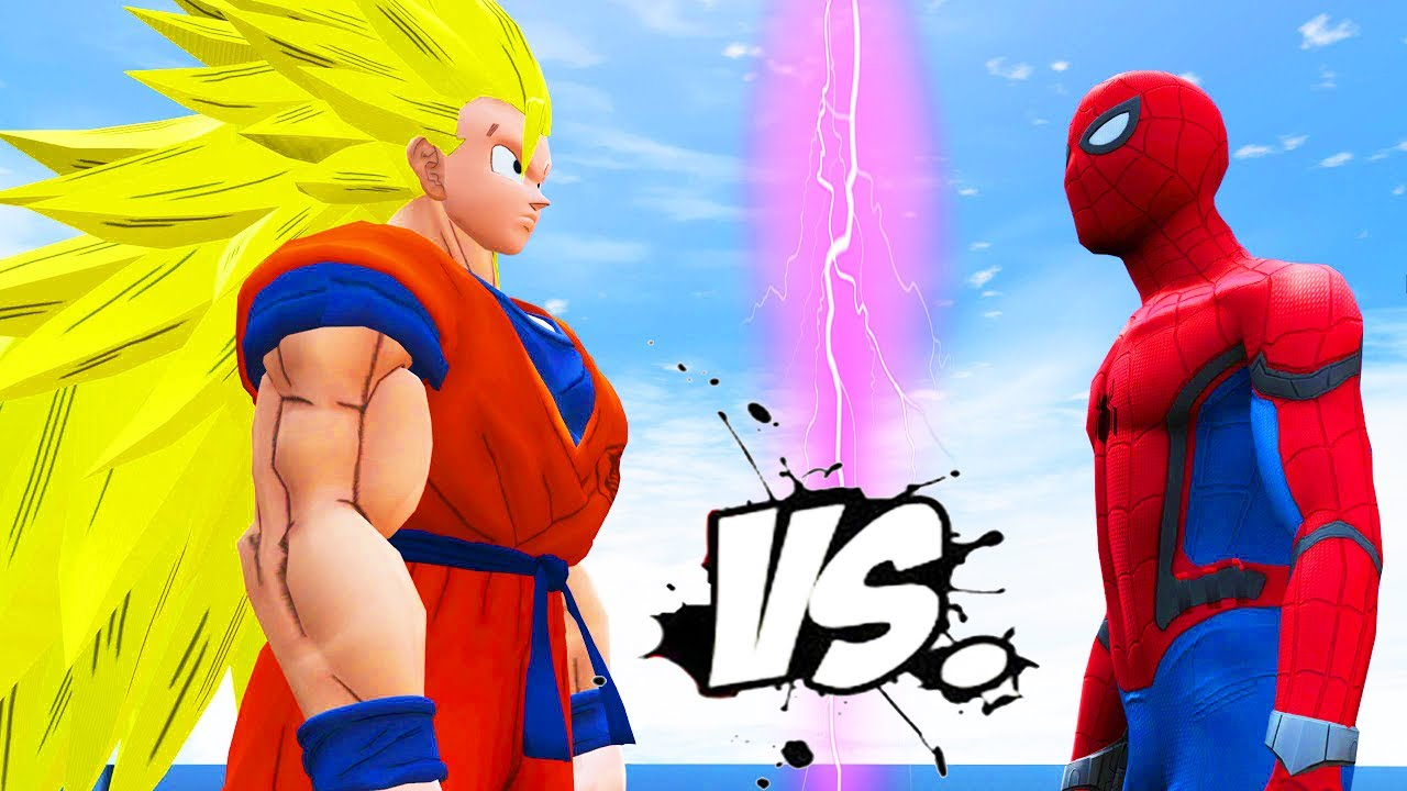 692cff36 GOKU VS SPIDERMAN - DRAGON BALL VS MARVEL SUPERHERO!!