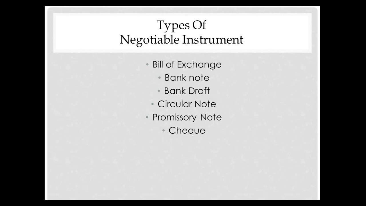 what is a negotiable instrument explain its characteristics