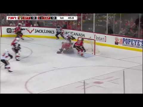Ottawa Senators vs. Calgary Flames 10-13-17 Cody Ceci GOAL