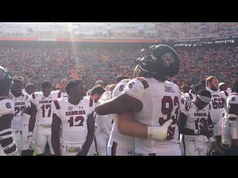 Gamecocks celebrate/alma mater after win at Tennessee