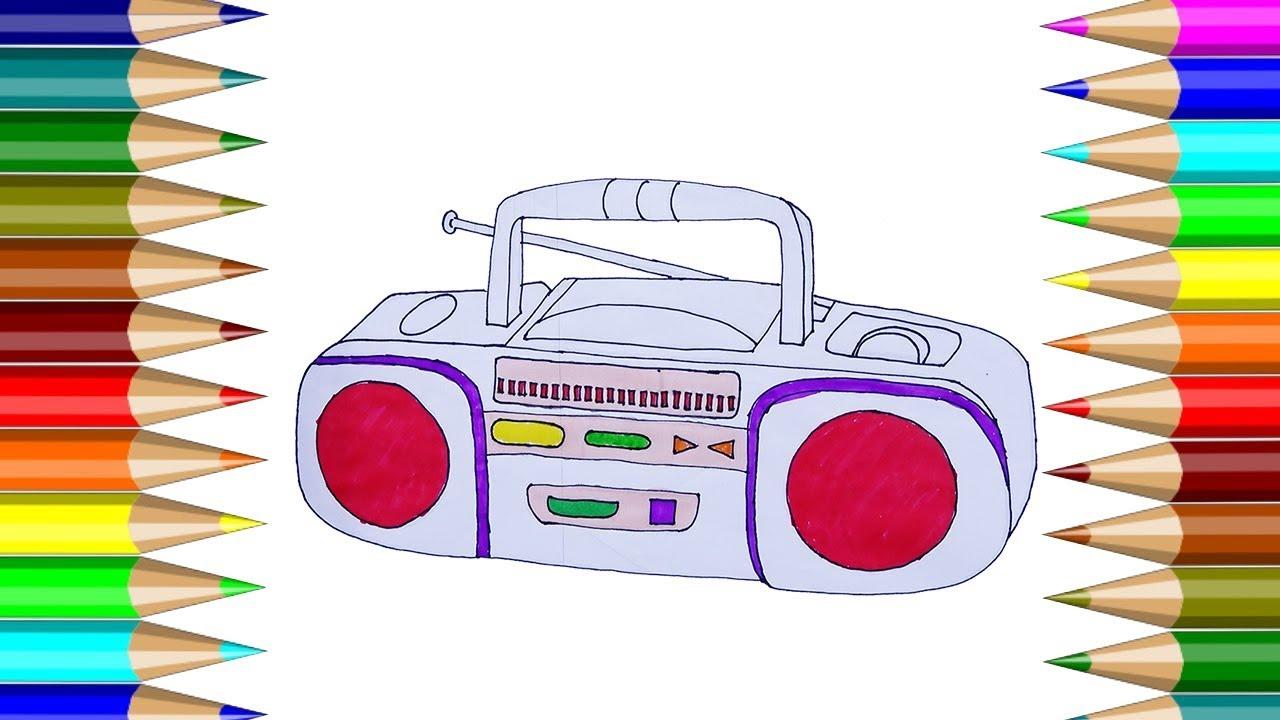Para Colorear Radio | Cómo dibujar grabadora de cassette | Dibujos ...