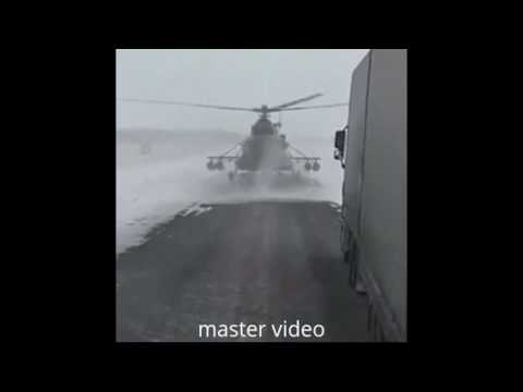 Stray Combat Helicopter lands On The Highway - Verdwaalde Helikopter landt Op De Snelweg