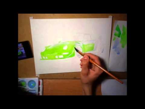 be8e5bfe69f7 WATERCOLOR DRAWING PORSCHE 911 RWB. part 1. - YouTube