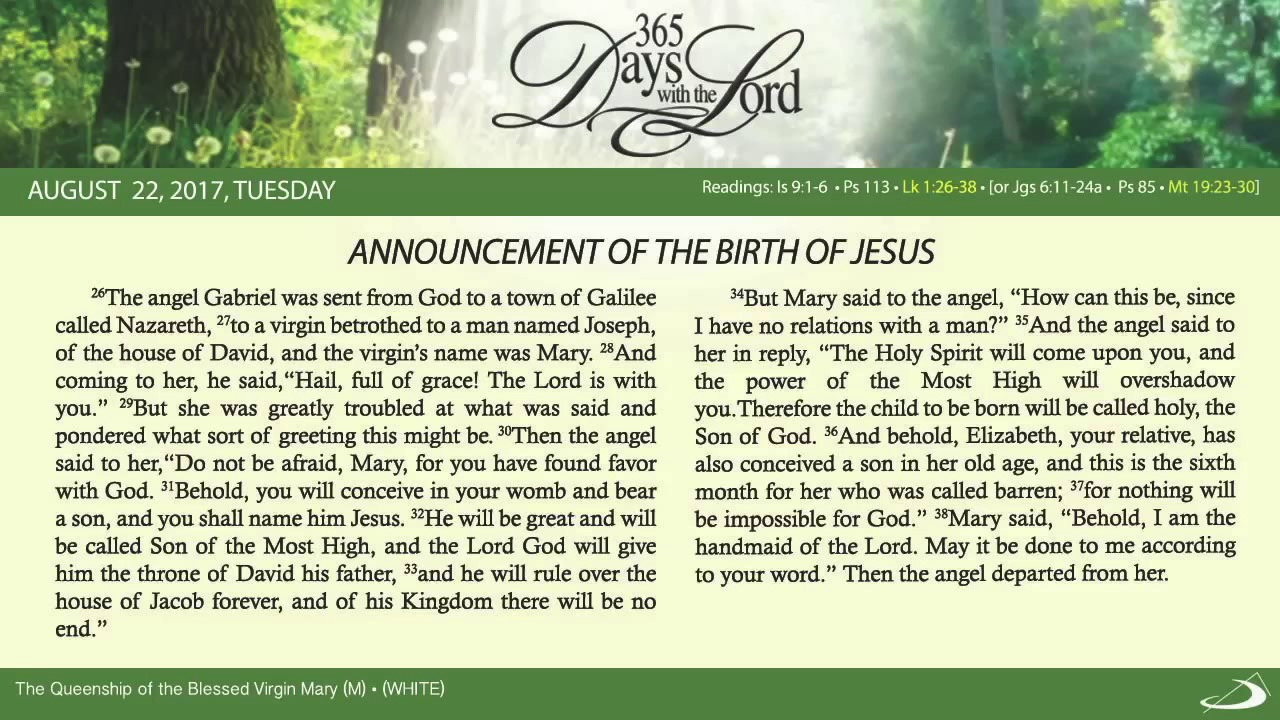 August 22 2017 Daily Bible Reading with text and narration – Jesus Birth Announcement