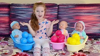 Caroline pretend play with Baby Dolls and girl toys