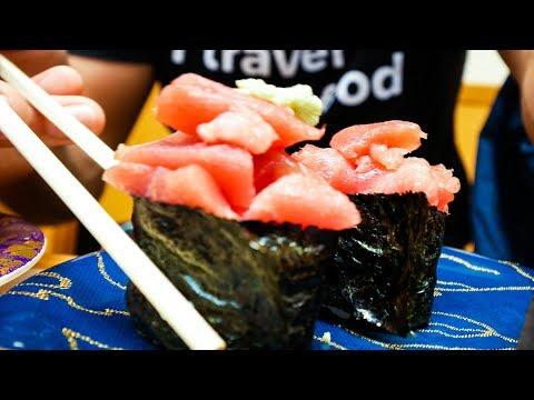 CONVEYOR BELT SUSHI - Japanese Food at Sushi Zanmai in Tokyo, Japan!