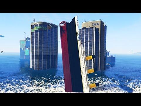 TITANIC IN A TSUNAMI MOD! (GTA 5 Funny Moments)