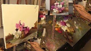 Этюд с орхидеями. Фрагменты урока. The etude of orchids. Fragment of lesson. Oil painting