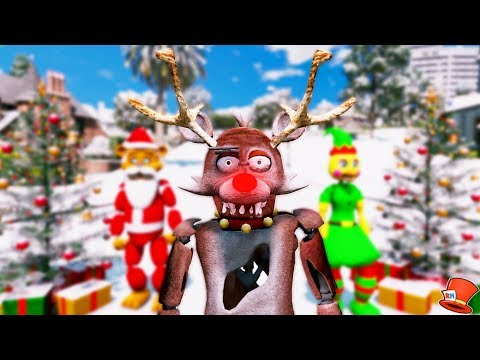 NEW RUDOLPH FOXY RED NOSED REINDEER ANIMATRONIC! (GTA 5 Mods For Kids FNAF RedHatter)