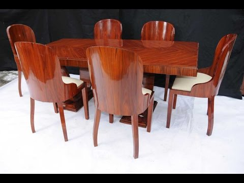 Art Deco Dining Set Rosewood Table and Chair