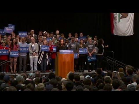 Rosario Dawson Introduces Bernie in San Diego