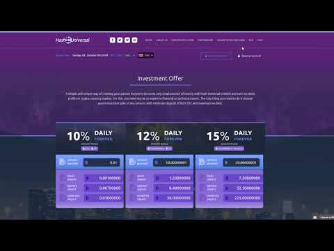 Hash Universal  10% -15% daily forever  HYIP  Bitcoin Investment