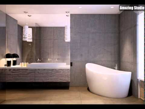 Beton Badezimmer Wand freistehende Badewanne - YouTube