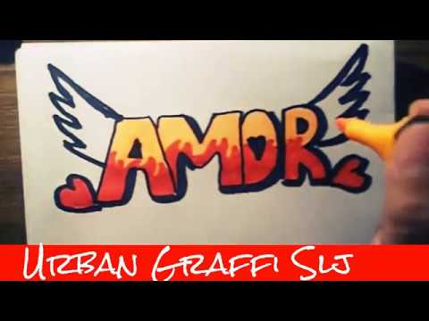 Speed Drawing Como dibujar graffitis de amor  como desenhar