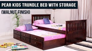 Pear Kids Trundle Bed With Storage  Walnut Finish  - Wooden Street