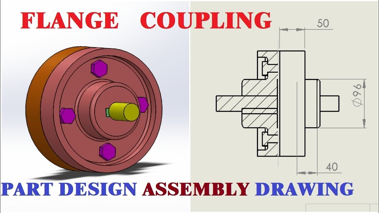 solidworks flange coupling cad tutorials part design assembly drafting of all parts [ 1280 x 720 Pixel ]
