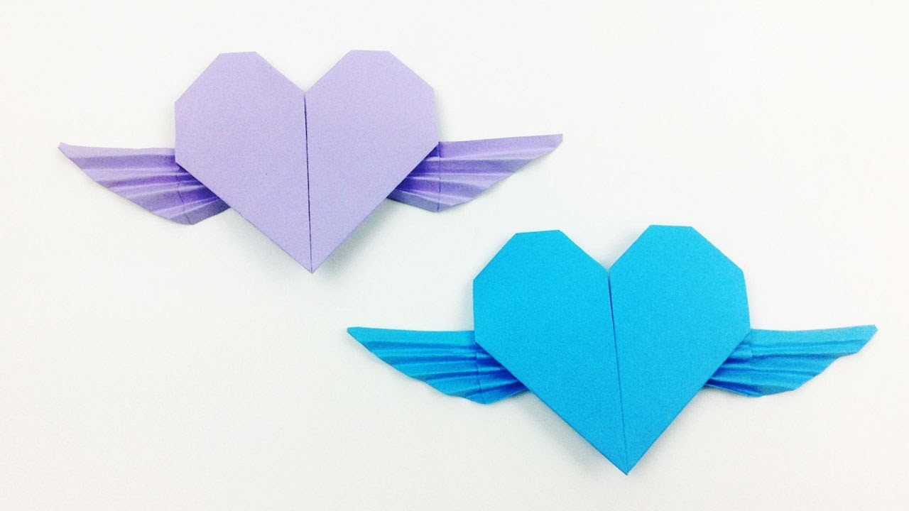 Easy Valentine's Day Origami Flying Heart - EasyCrafts DIY   Simple Origami Heart Folding ...