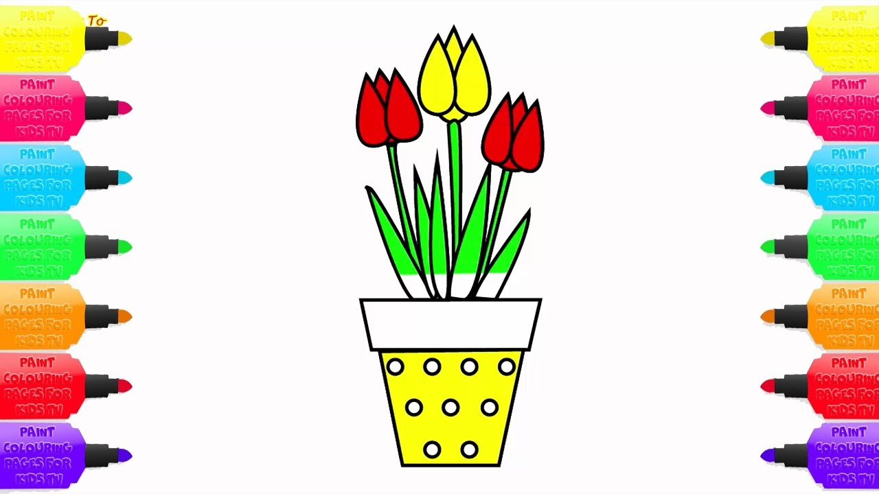 coloring pages potted plants how to draw tulip flowers art color for kids