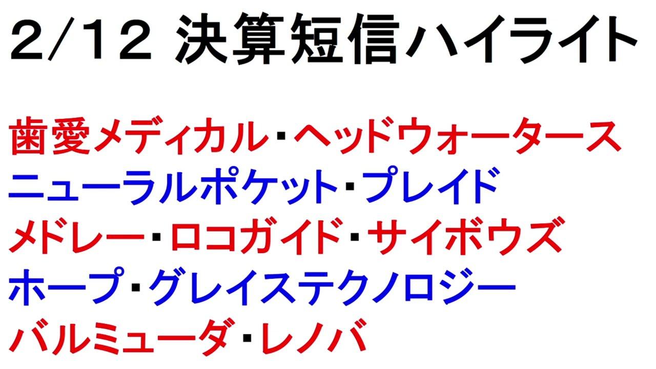 2/12 決算短信ハイライト!忙しい人のための1分解説!【緋水の株ちゃんねる】