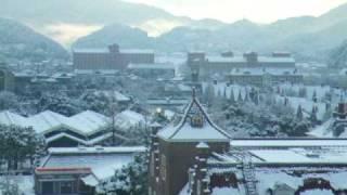 冬の朝のハウステンボス