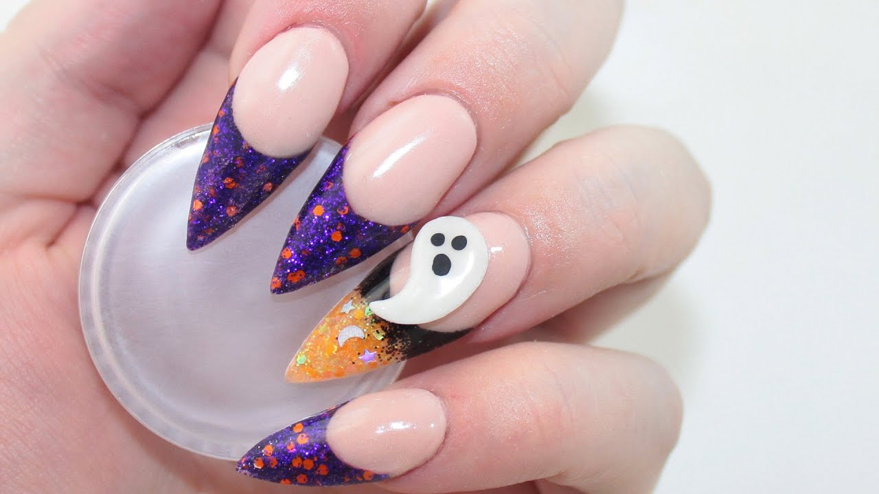 Glitter Ombre Halloween Acrylic Nails - YouTube