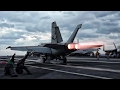 Aircraft Carrier F A-18 Super Hornets Takeoff