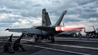 Aircraft Carrier F/A-18 Super Hornets Takeoff