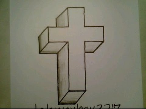 How To Draw A 3D Cross Crucifix Easy Optical Illusion Step By
