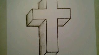 How To Draw A 3D Cross Crucifix Easy Optical Illusion Step By Step