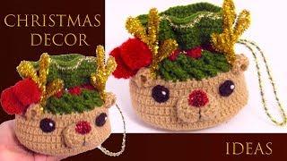 Mochilas de Crochê para Enfeite de Natal
