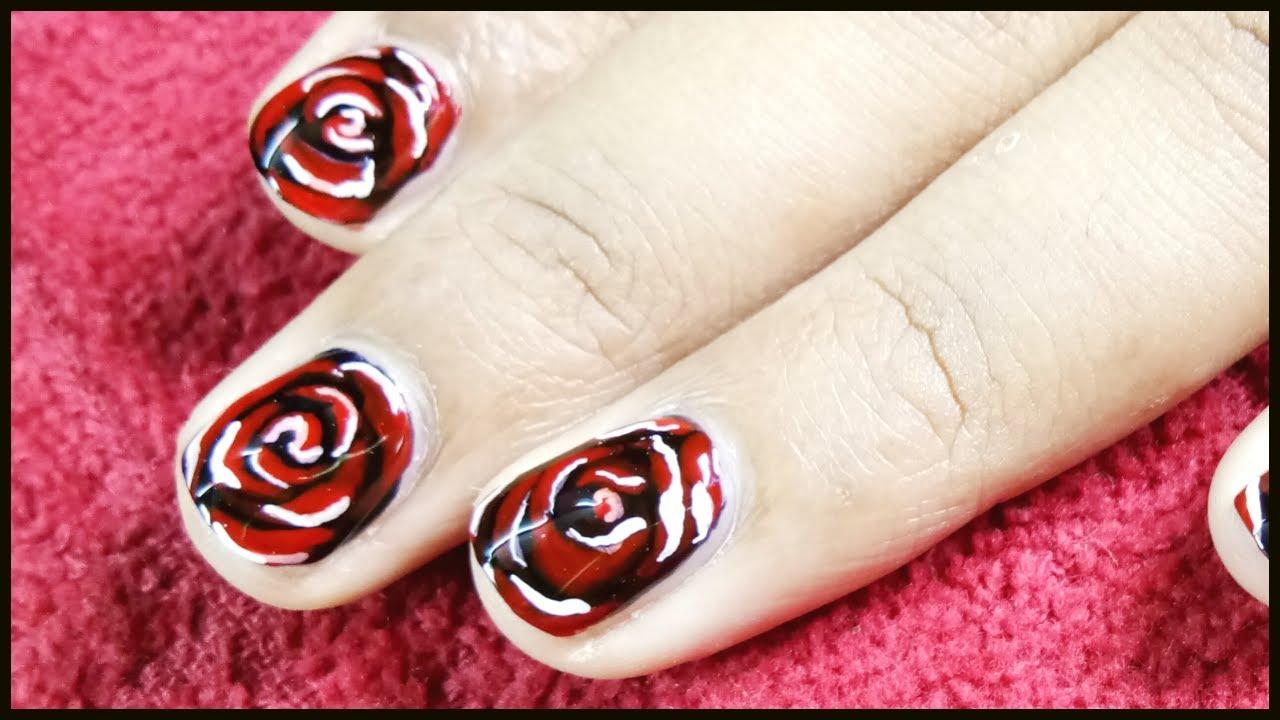 Dark red rose nail art in short nails youtube dark red rose nail art in short nails prinsesfo Choice Image