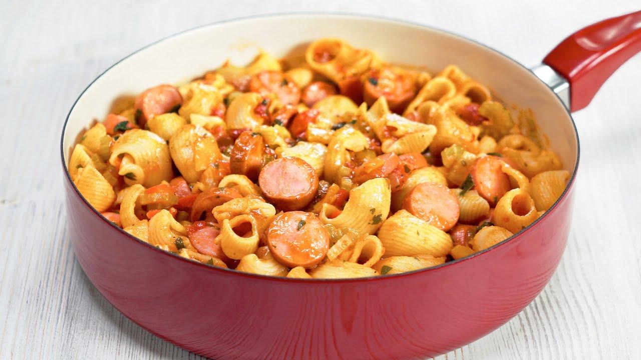 Вкусный ужин за 25 минут! Макароны с овощами и сосисками в одной сковороде от Всегда Вкусно!